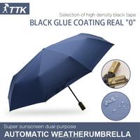 TTK full automatic creative ultra large adult black plastic sunscreen folding aluminum alloy sunny Golf umbrella