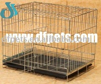 Folding Wire Pet Dog Cages With Plastic Tray