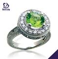 Anillo de joyería moldavite Brillante transparente piedras preciosas verde de plata