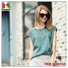 women's fashion plain sleeveless linen T-shirt with front pocket OEM service
