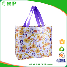 Recyclable ladies foldable floral pp woven europe shopping bag