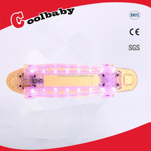 OEM electric LED light penny skateboard,penny board with spark,flashy skateboard