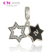 Latest Design North Star Pendant Paving Crystalr Rhinestones Star With Black Enamel Star Charms Pendant S295