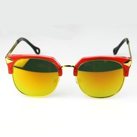 High End Shiny Yellow Film Lens Mirrored Sunglasses Wholesale