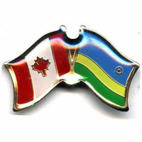Friendship customized unique making metal badge Canada and Rwanda flag lapel pin---promotional gift