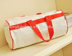 2014 green cotton travel bag with polyester linner