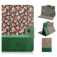 Green Leopard Floral Design Flip Stand PU Leather Cover Case For 7/10 inch Universal Tablet PC