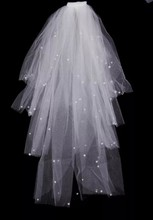2015 summer bridal veil soft silk long multilayer white wedding veil