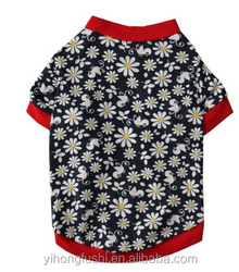 Pet Clothes Grey Dog T Shirt Chrysanthemum Picture Printed Dog Clothing Small Dogs Clothes Sexy Dog Costume For Dog