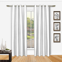 Luxury 100%Polyester Blackout Faux silk window curtain in Solid color