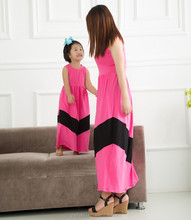 2015 bulksale mommy and me maxi dress 100% cotton chevron lace dresses mommy and me maxi dress design China supplier