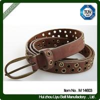 Brown Leather Belt for women men unisex metal beaded hollow vintage pin buckle
