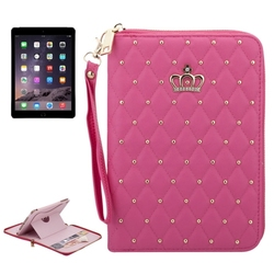 Wholesale Price Crown Pattern Leather wallet case for for iPad Air 2