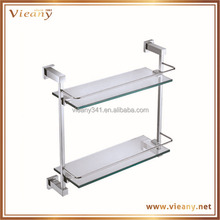 brass glass wall mount corner two layer bathroom shelves