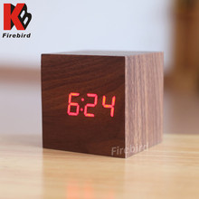 Colorful LED display cube wood clock creative electrical gift items for woman