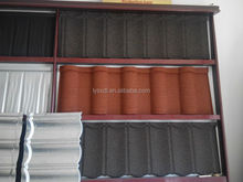 Nigeria hot sale villa stone coated steel roofing tile, low cost curved heat insulation stone coated metal roof tiles