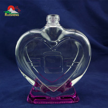 Wholesale elegant appearance heart shaped colorful glass bottle