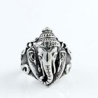 Silver Colour Elephant Nose Titanium Steel Vintage Band Ring
