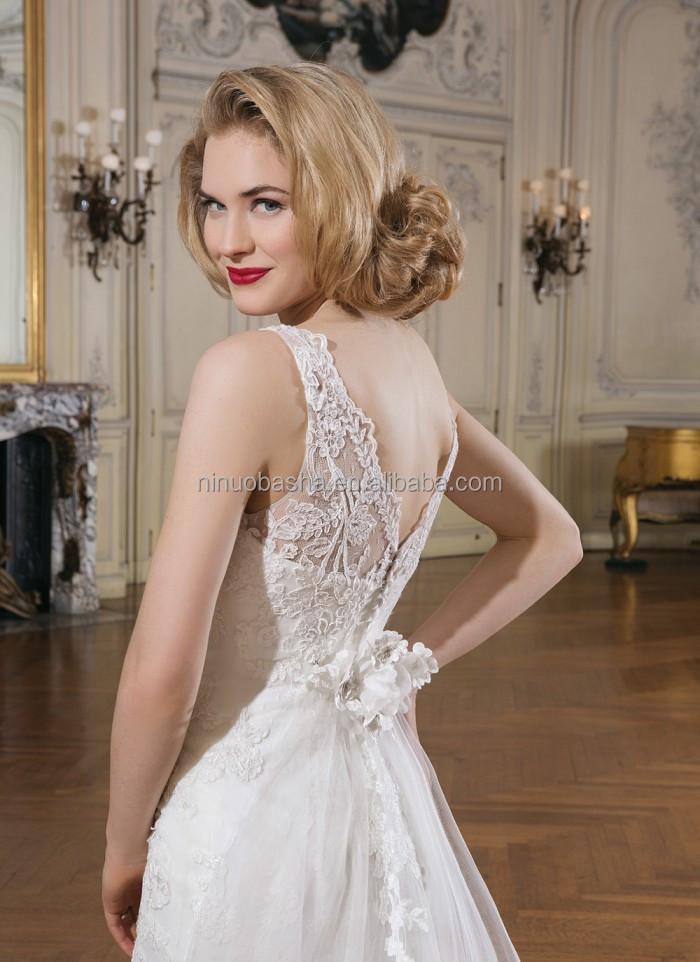 Jewel Neck V-shaped Back Alibaba Wedding Dress 2014 Lace Applique ...