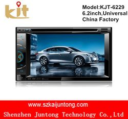 Universal 6.2 inch 2 din touch screen pioneer car audio dvd player with bluetooth and