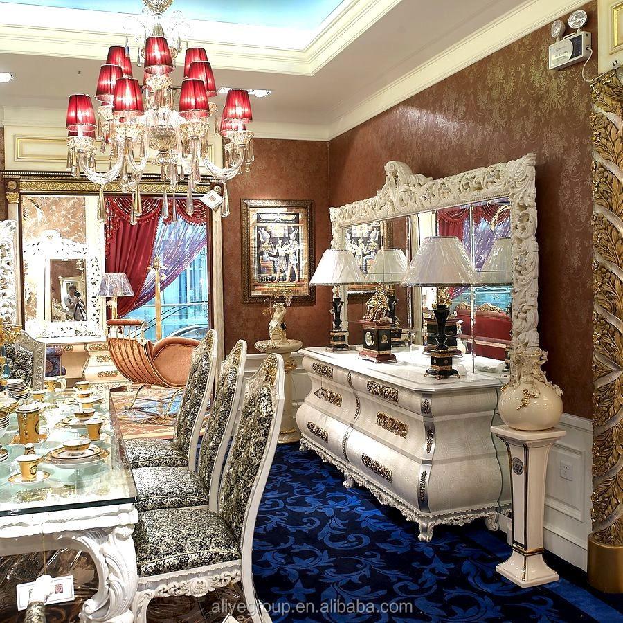 AA316-Royal Paleis Huis Versierd Dressoir Kast met Spiegel-houten ...