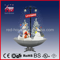 Your 2014 New Christmas Smart Village Decoration, Snowing Christmas Snowman Family with umbrella base with LED lights and tree