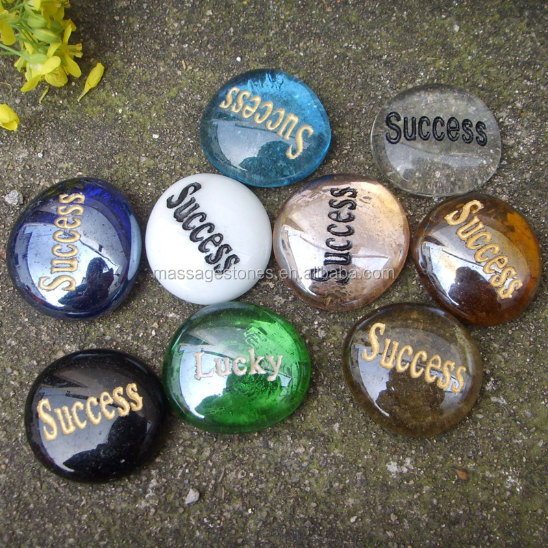 Stone Crafts Engraved Word Glass Stone