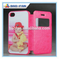 Blank Sublimation Phone Case 2D Sublimation Leather Cover with Flip and Open Winow for ip4