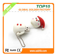 Protable cute snowman PVC Pendrive with small chain for Christmas gift