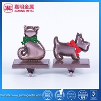 Set of 2 metal Dog and Cat Stocking Hanger
