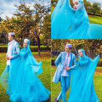 Blue Tulle with Beads Bow Islamic FormalLong Sleeves Muslim Evening Prom Dresses with hijab FMG11