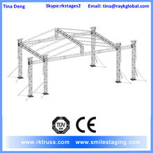 6 tower stage truss system with fly wings for music concert