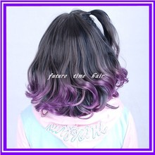 1b purple ombre synthetic wavy two tone hair lace front wig