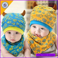 Hot Selling Knit Cotton Baby Beanie With Bibs Baby Hats With Ears