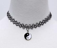 Vintage elastic tattoo henna stretch Yinyang choker necklace