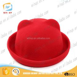 100% wool high quality fedora hat pattern child mini fedora hat