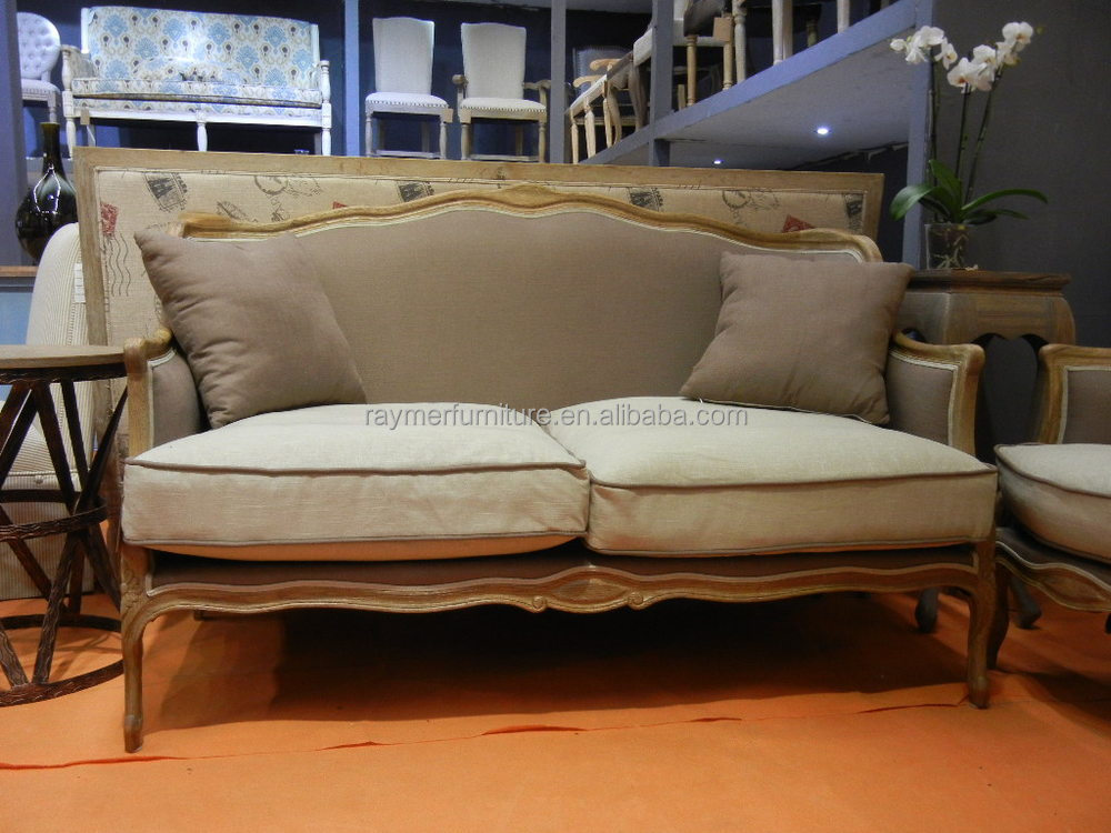 Antique French Style Living Room Two Seater Sofas Wood Frame ...