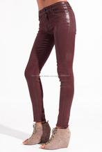 Mujeres de alta subida recubierto encerado vaqueros / rojo oscuro recubierto skinny Jeans / de gran altura recubierto Jeans