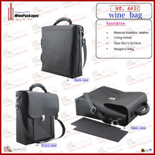 Popular Black PU Leather Storage Bag,Wine Packaging With Portable