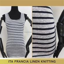 2016 wholesale textil 100% linen stripe fabric knitting for summer dresses
