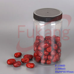 1300ml airtight dry fruits plastic jars, tall cylinder food storage containers, round plastic candy container factory in China
