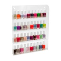 4 Tiers Transparent Wall Mounted Nail Polish Rack Display Stand