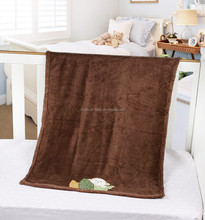Animal embroidered coral fleece blanket
