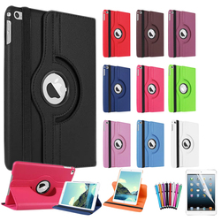 For iPad Mini 4 Cover Case 360 Rotating Smart Cover for iPad PU Leather Protect Case w/Screen Protector+Stylus Pen