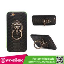 Lion Head Door Knocker Genuine Leather Skin PC Hard Case for iPhone 6 4.7 inch