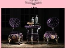 foshan furniture ottoman purple Velvet Fabric with flower OTTOMAN