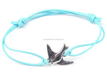 2PCs Silver Plated Birds Faux Suede Leather Cord Charm Bracelets