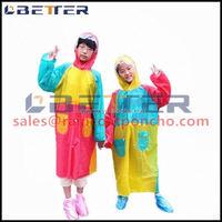 PE/PEVA kids rain poncho with hood