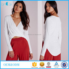 Customize Ladies Wrap Front Drop Hem Long Sleeve White Top