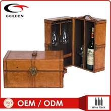 Wooden case for wine bottle with handle, case for wine tools